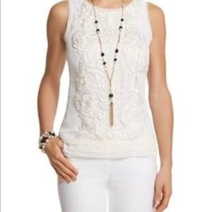 WHBM Silk and Lace Sleeveless Blouse sz
